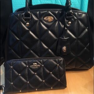 Coach Margo Quilted Carryall + Studded Wallet SET